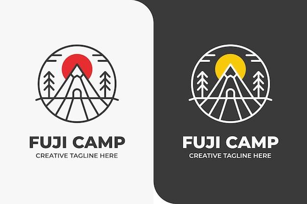 Mountain camp outdoor adventure logo monoline