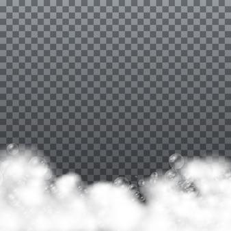 Mousse de bain avec des bulles de shampooing isolé sur fond transparent. rasage, mousse mousse avec bulles vue de dessus modèle pour votre conception publicitaire.