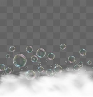 Mousse de bain réaliste. bulles de shampooing transparentes, cadre savonneux pour le linge, mousse de gel de rasage pour la douche modèle de conception