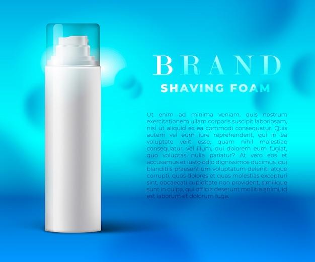Mousse à raser ou conception de bannière de gel, concept d'annonces avec couvercle transparent de bouteille de mousse à raser réaliste. illustration lumineuse prête pour votre refonte.