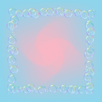Mousse de savon sur fond dégradé. bulles d'eau réalistes 3d. mousse liquide fraîche de couleur arc-en-ciel avec des bulles de shampoing. dépliant cosmétique et invitation. savon pour le bain et la douche. vecteur eps10.