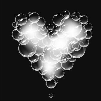 Mousse de savon réaliste avec des bulles en forme de coeur symbole de la saint-valentin romantique brillant coeur savonneux bl...