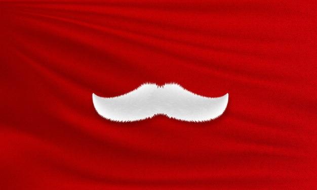 Moustache blanche du père noël sur tissu rouge.