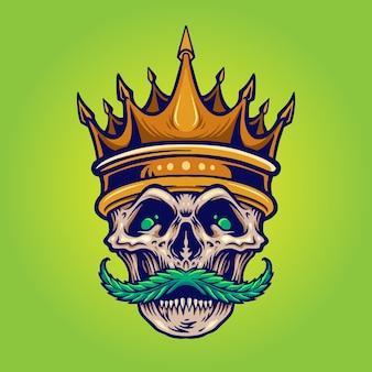 Moustache de crâne en colère de couronne d'or avec de l'herbe pour votre marchandise de logo de travail