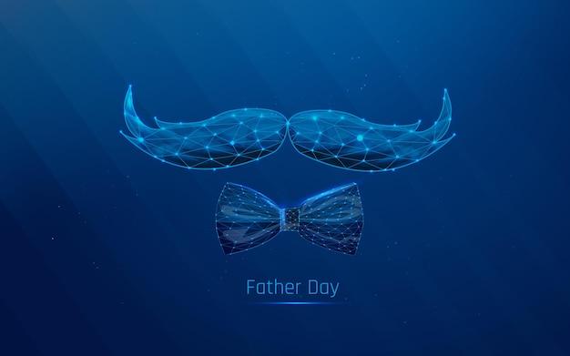 Moustache dessinée et papillon symbole hommes concept fête des pères