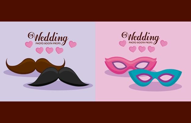 Moustache hipster avec carnaval masques