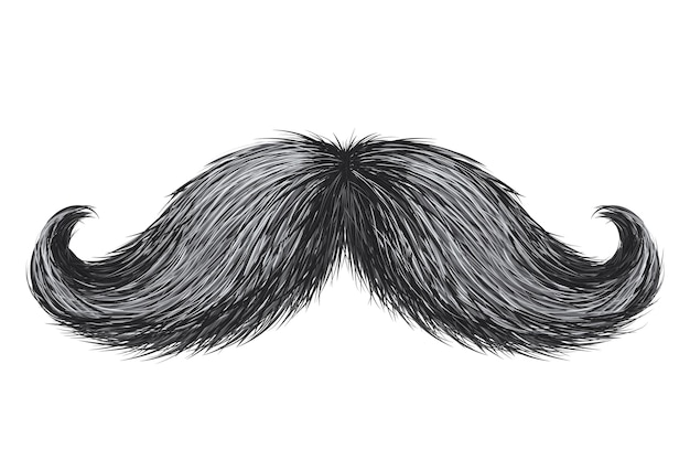Moustache rétro vintage réaliste dessinée à la main isolée
