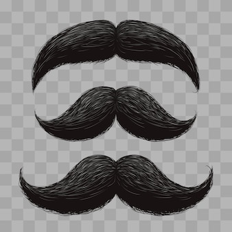 Moustaches de cheveux rétro drôle isolé