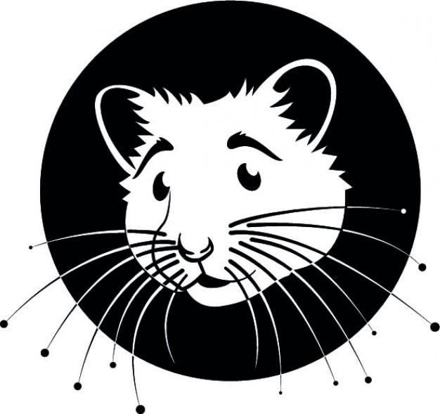 Moustaches hamster vecteur de logo de dessin animé