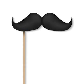 Moustaches noires sur bâton en plastique.
