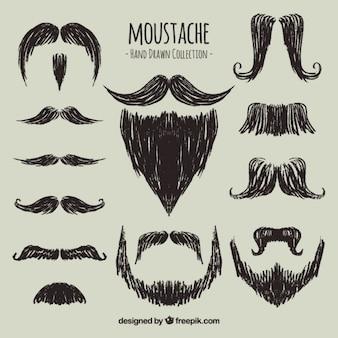 Moustaches tiré par la main élégante