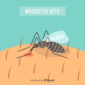 Moustique mordant une personne au design plat