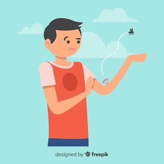 Moustique mordant une personne avec un design plat