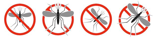 Le moustique avec panneau d'interdiction rouge isolé sur blanc