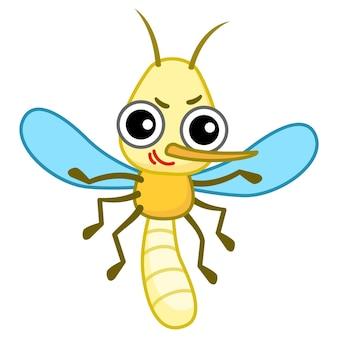 Moustique de personnage drôle dans un style cartoon