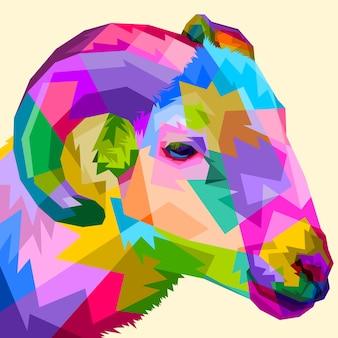 Mouton coloré au style pop art