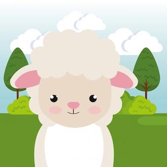 Mouton mignon dans le caractère de paysage de terrain