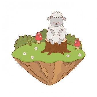 Mouton mignon dans le champ boisé