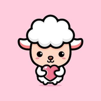 Mouton mignon étreignant un coeur d'amour