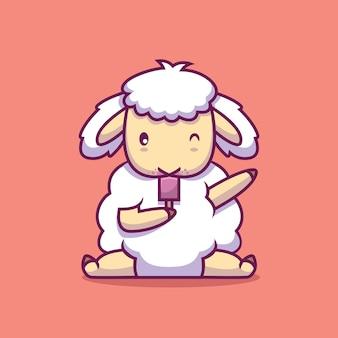 Mouton mignon manger illustration de dessin animé de crème glacée
