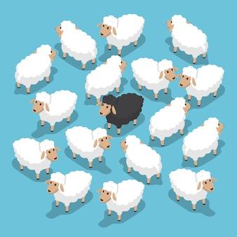 Mouton noir isométrique dans le troupeau