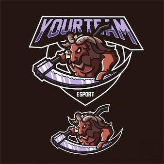 Moutons baphomet esport gaming mascotte logo modèle