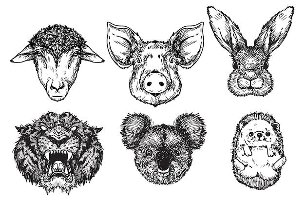 Moutons, cochons, lapins, tigres, koalas, hérissons dessinant à la main et croquis en noir et blanc