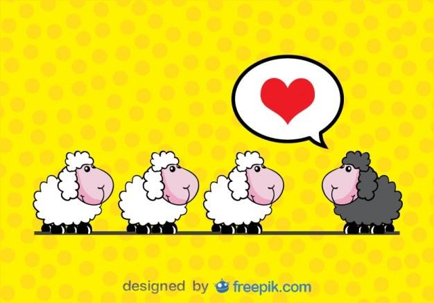 Moutons dans l'amour - carte cartoon vecteur