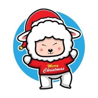 Moutons mignons avec le concept de noël animal de personnage de dessin animé de costume de chapeau de santa