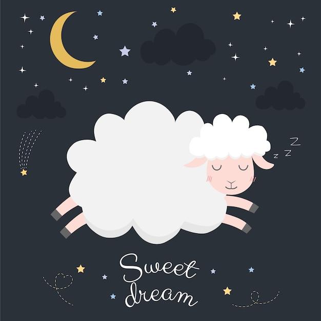 Moutons mignons dans la nuit avec la lune.