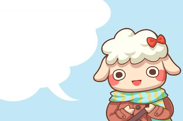 Moutons mignons avec fond d'espace bulle de dialogue