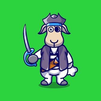 Moutons mignons portant un costume d'halloween pirate