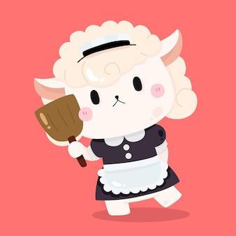Moutons mignons serveuse femme de chambre dessin animé illustrations d'animaux