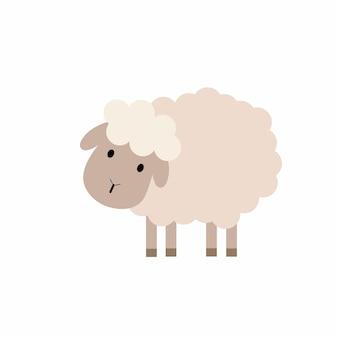 Moutons mignons en style cartoon. illustration pour enfants d'un mouton. animal de compagnie de vecteur.