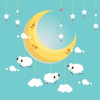 Moutons nuageux suspendus sur la lune