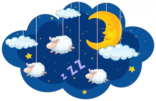Moutons suspendus dans le ciel sombre