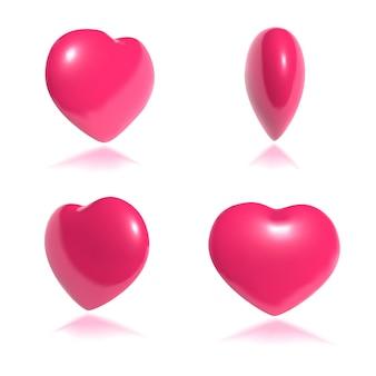 Mouvement de l'art 3d en rotation de coeur rose