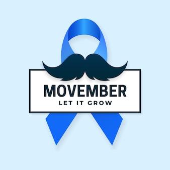 Movember a laissé pousser la campagne des affiches du mois de sensibilisation au cancer de la prostate avec le symbole du ruban bleu et la moustache