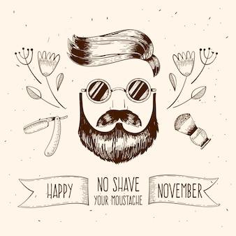 Movember vintage heureux avec homme et lunettes de soleil