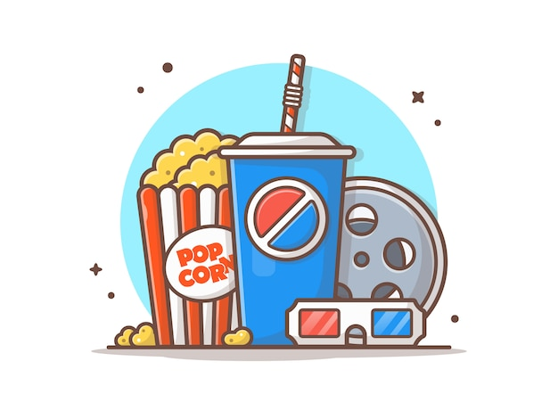 Movie time vector icon illustration
