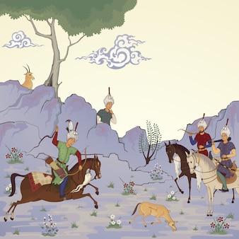 Moyen-orient oriental. illustration historique.