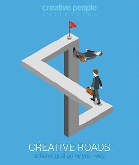 Moyens créatifs d'atteindre l'objectif web 3d plat