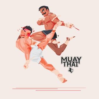 Muay thai. boxe thai. concept de sport de combat et d'arts martiaux