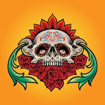 Muertos de crâne de sucre mexicain avec illustrations de fleurs