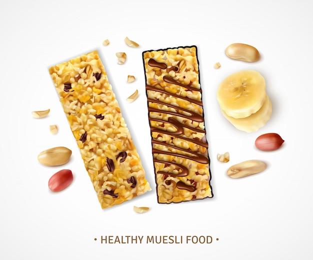 Muesli réaliste avec des barres sucrées de granola avec des tranches de banane et des morceaux de haricots arachides
