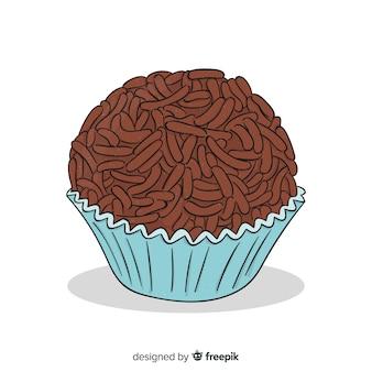 Muffin au chocolat dessiné à la main