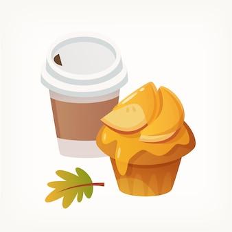 Muffin au miel avec des pommes et une tasse de café en papier