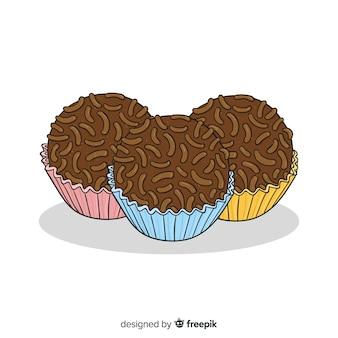Muffins au chocolat dessinés à la main