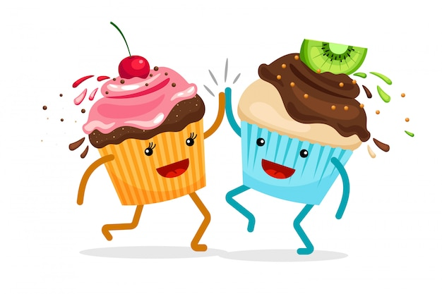 Muffins cartoon pour toujours amis. cupcakes applaudir mains illustration vectorielle