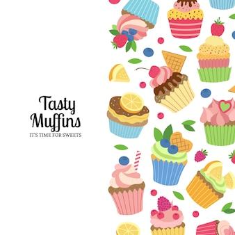 Muffins ou cupcakes de dessin animé mignon avec illustration de la surface